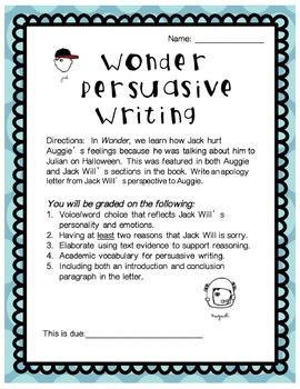 Wonder Persuasive Writing