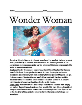 Wonder Woman - Super Hero review article lesson facts info