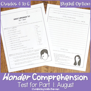 Wonder by R. J. Palacio--Comprehension Test Part 1