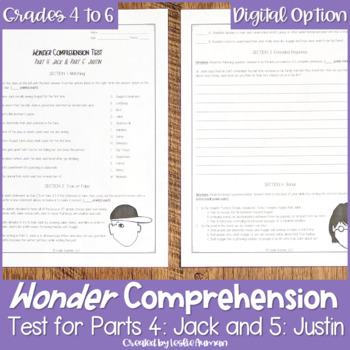 Wonder by R. J. Palacio--Comprehension Test Parts 4 & 5