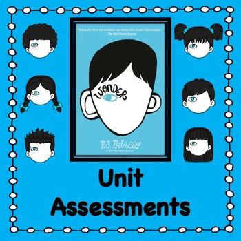 Wonder by R.J. Palacio:                  Unit Tests/Quizzes