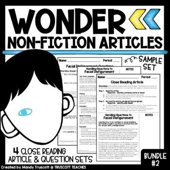 """Bundle 2 - """"Wonder"""" by R.J. Palacio: Nonfiction Articles t"""