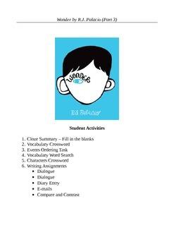 Wonder by R.J. Palacio (Part 3) - Ten Active Learning Activities