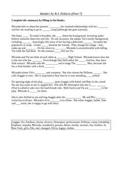 Wonder by R.J. Palacio (Part 7) - Student Activity Bundle