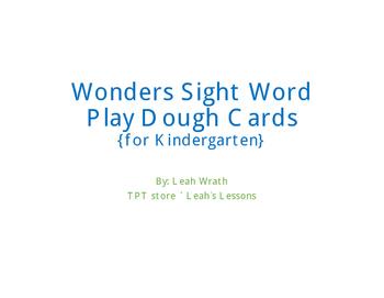 Wonder kindergarten sight word play dough cards