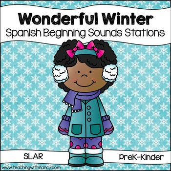 Wonderful Winter Initial Sounds Stations  in Spanish