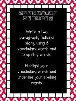 Wonderful Writing Word Work Prompt