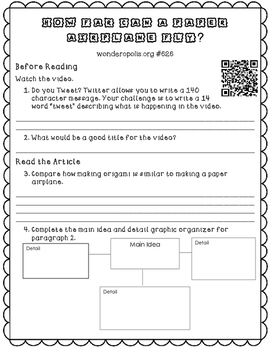 "Informational Text Dependent Question Practice ""Flying Pap"