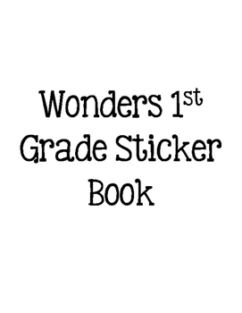 Wonders 1st Grade Sight Words Sticker Book