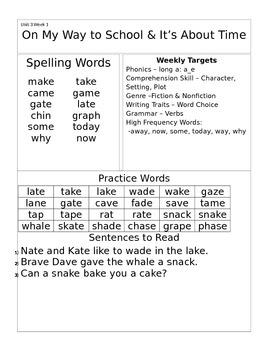 Wonders 1st Grade Unit 3 Homework