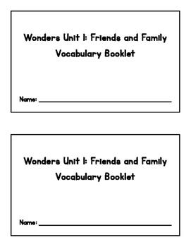 Wonders 2017 - 2nd Grade Vocabulary Booklet - Unit 1