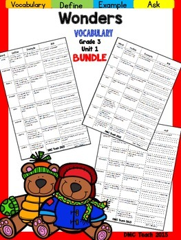 Wonders 3rd Grade Vocabulary Bundle Unit-1