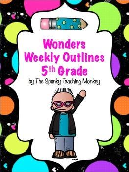 Wonders 5th Grade Weekly Task Sheet {CUSTOMIZABLE}
