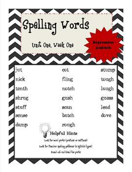 Wonders 5th grade spelling list Unit 1, Week 1