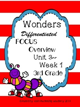 Wonders CCSS~ Differentiated Focus Overview Unit 3 Week 1~