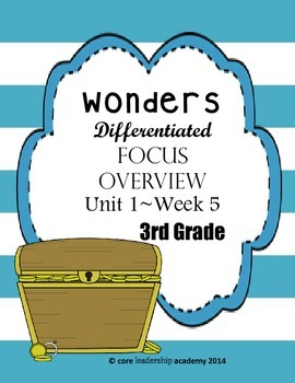 Wonders CCSS~ Differentiated Focus Overview Unit 1 Week 5~