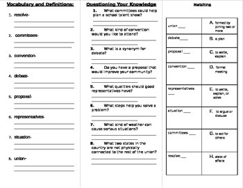 Wonders Fifth Grade Unit 2 Vocabulary Study