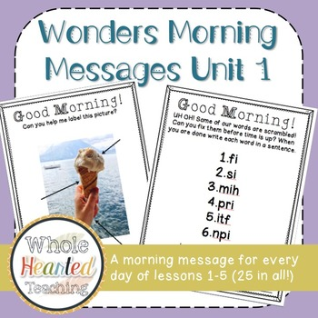 Wonders First Grade Morning Mesages Unit 1