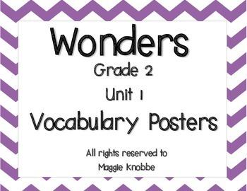 Wonders Grade 2 Unit 1 Vocabulary Posters