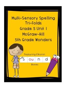 Wonders Grade 5 Unit 1 Weeks 1-5 Spelling Tri-fold - Multi