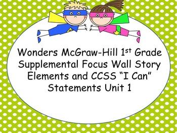 Wonders McGraw-Hill 1st Grade Unit 1 Supplemental Focus Wall