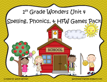 Wonders McGraw Hill 1st Grade Unit 4 Spelling & Phonics Games