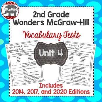 Wonders McGraw Hill 2nd Grade Vocabulary Tests - Unit 4