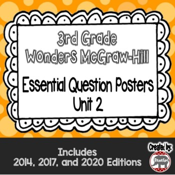 Wonders McGraw Hill 3rd Grade Essential Question Posters - Unit 2