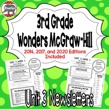 Wonders McGraw Hill 3rd Grade Newsletter/Study Guide - Uni