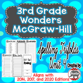 Wonders McGraw Hill 3rd Grade Spelling Trifolds - Unit 4