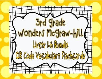 Wonders McGraw Hill 3rd Grade Vocabulary QR Code Flashcard