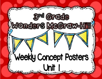 Wonders McGraw Hill 3rd Grade Weekly Concept Posters - Unit 1