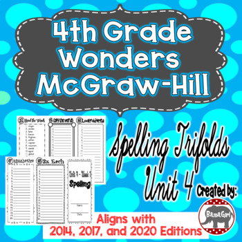 Wonders McGraw Hill 4th Grade Spelling Trifolds - Unit 4