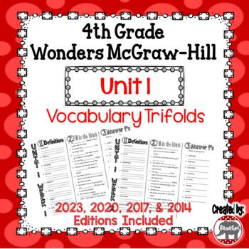 Wonders McGraw Hill 4th Grade Vocabulary Trifold - Unit 1