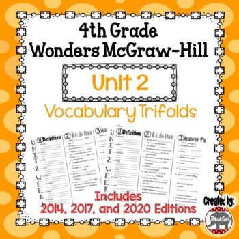 Wonders McGraw Hill 4th Grade Vocabulary Trifold - Unit 2