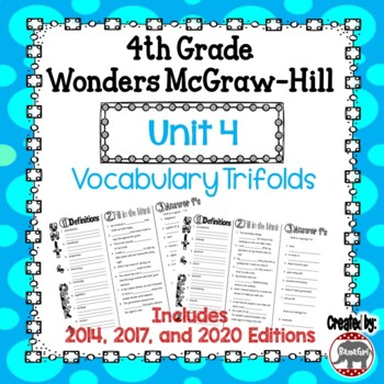 Wonders McGraw Hill 4th Grade Vocabulary Trifold - Unit 4