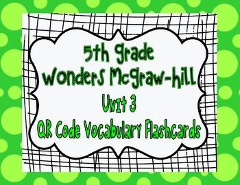 Wonders McGraw Hill 5th Grade Vocabulary QR Code Flashcard