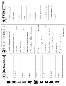 Wonders McGraw Hill 5th Grade Vocabulary Trifold - Unit 4