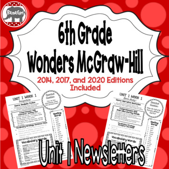 Wonders McGraw Hill 6th Grade Newsletter/Study Guide - Unit 1