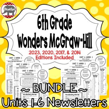 Wonders McGraw Hill 6th Grade Newsletter/Study Guide - Uni