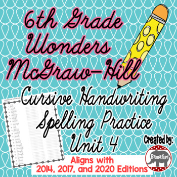 Wonders McGraw Hill 6th Grade Spelling Cursive Handwriting