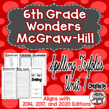 Wonders McGraw Hill 6th Grade Spelling Trifolds - Unit 1