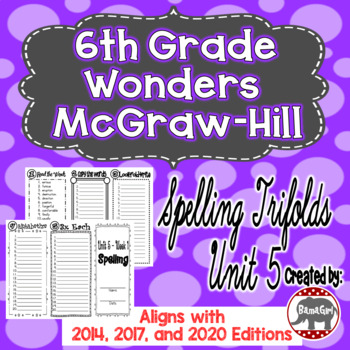 Wonders McGraw Hill 6th Grade Spelling Trifolds - Unit 5