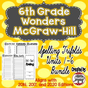 Wonders McGraw Hill 6th Grade Spelling Trifolds - Units 1-