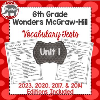 Wonders McGraw Hill 6th Grade Vocabulary Tests - Unit 1