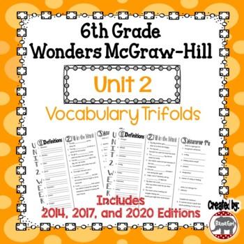 Wonders McGraw Hill 6th Grade Vocabulary Trifold - Unit 2