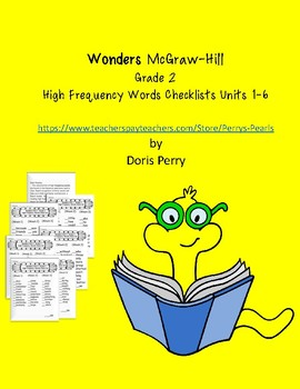 Wonders McGraw-Hill High Frequency Words Check Lists Units 1-6