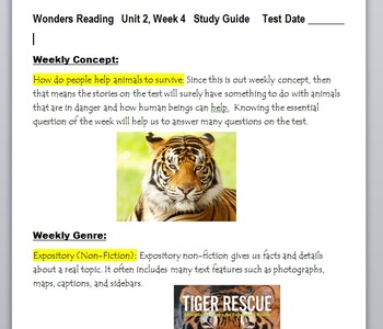 Wonders McGraw-Hill Study Guides for 3rd grade UNIT 2 only
