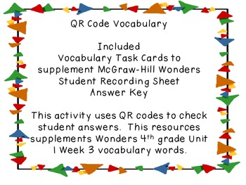 Wonders QR Code Vocabulary Unit 1 Week 3