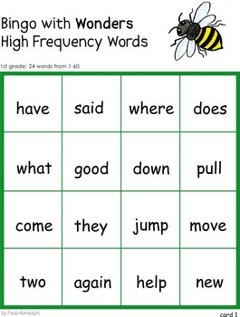 Wonders Reading 1st grade High Frequency Bingo